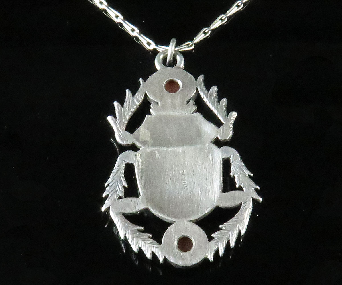 Sterling and Carnelian Scarab Pendant