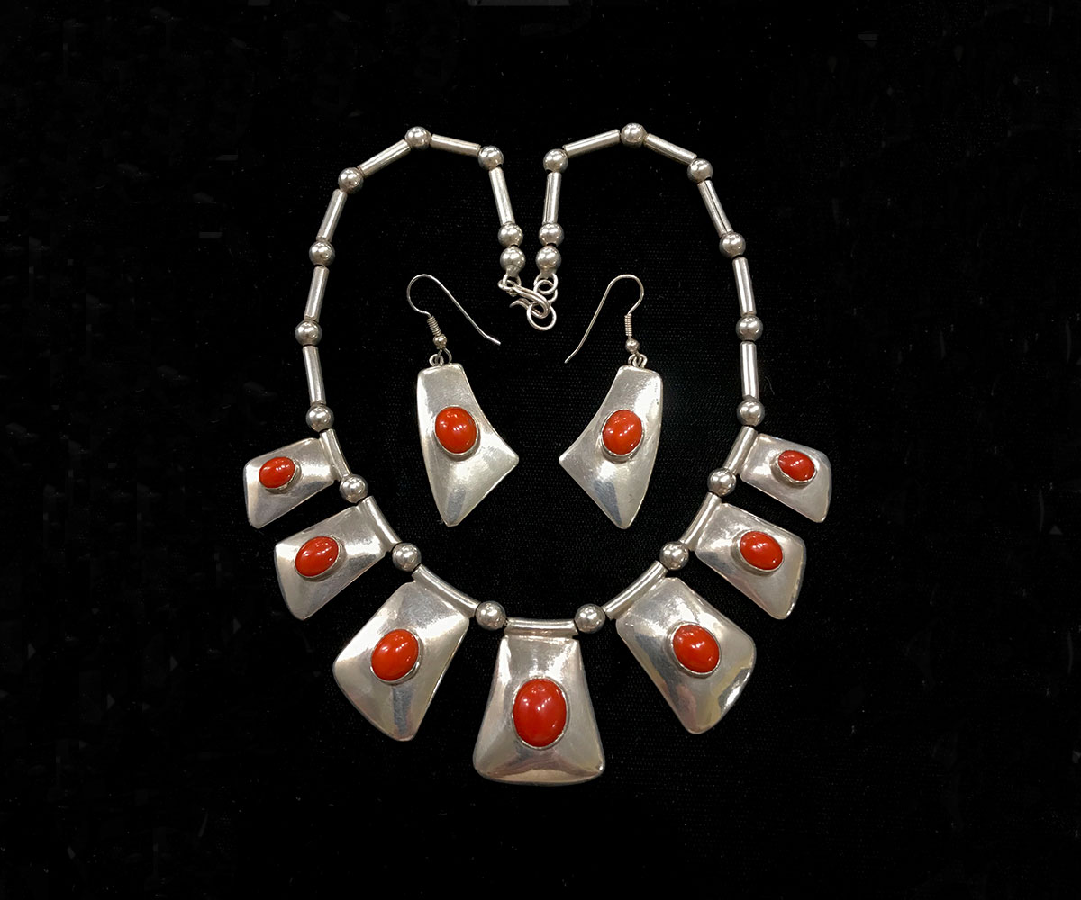 Sterling Coral Necklace and Earrings