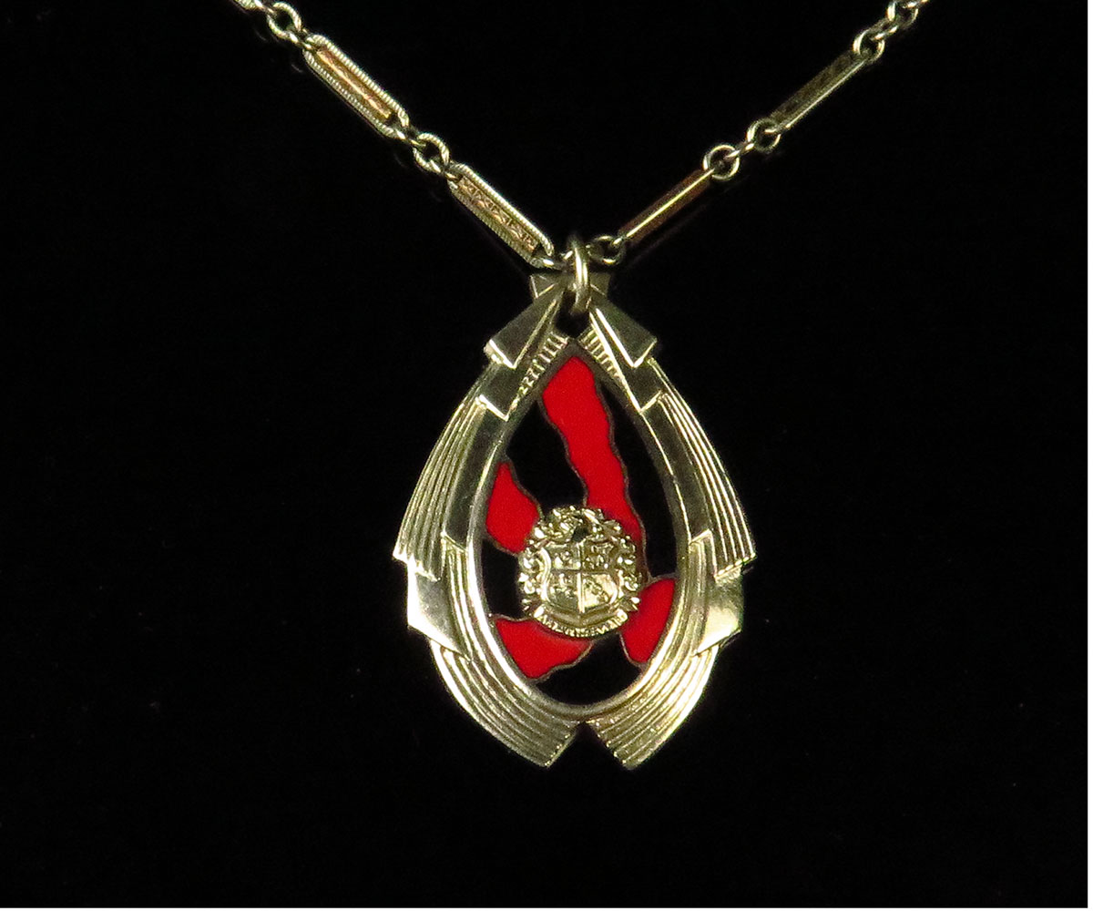 Deco Chrome and Enamel Necklace