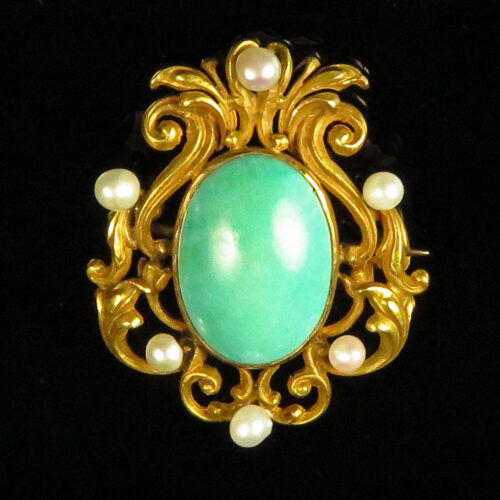 Victorian Gold Turquoise and Pearl brooch