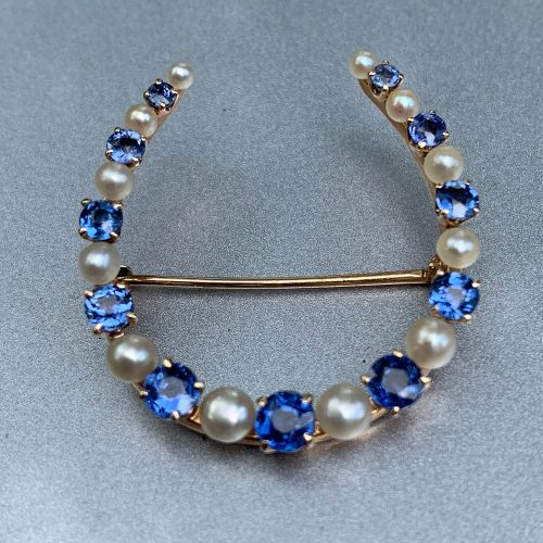 Gold Horseshoe Brooch with Sapphires and Pearls