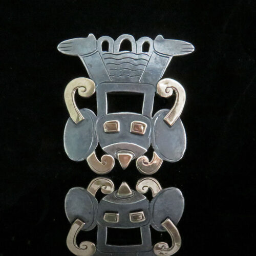 Sterling and Gold Peruvian Deity Pin