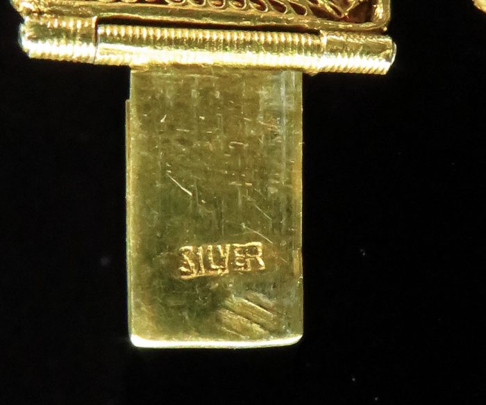 Chinese Export Gilt Silver Jadeite Bracelet