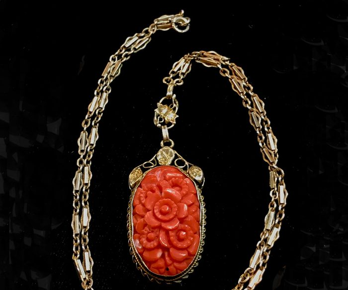 Vermeil Carved Coral Necklace