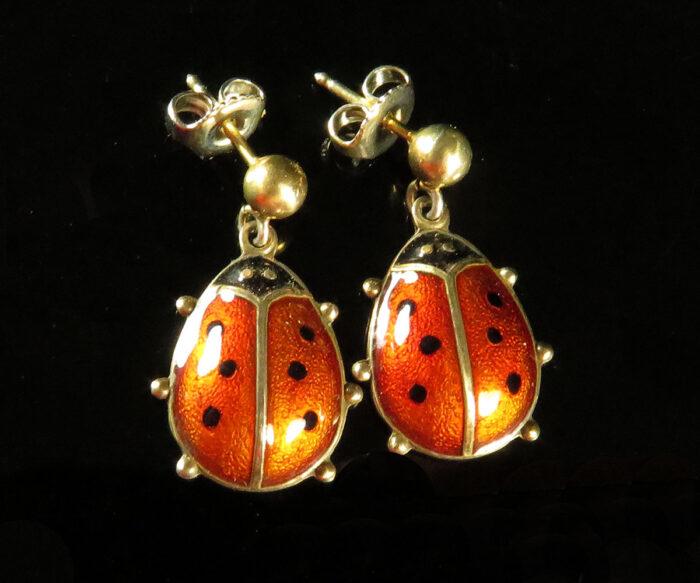 David Andersen Lady Bug Earrings