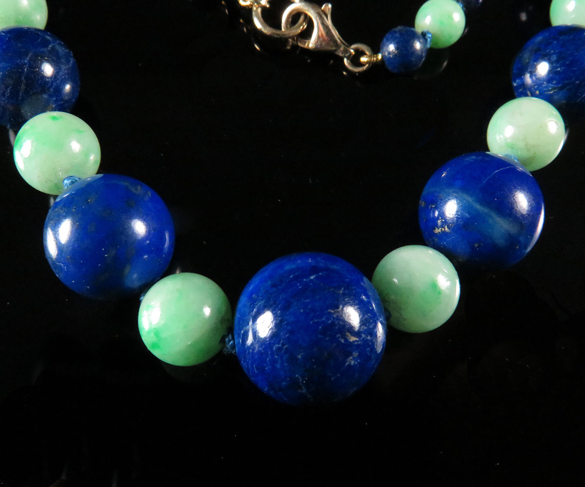 Graduated Lapis and Jadeite Bead Necklace