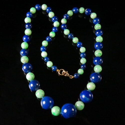 Graduated Lapis and Jadeite Bead Necklace