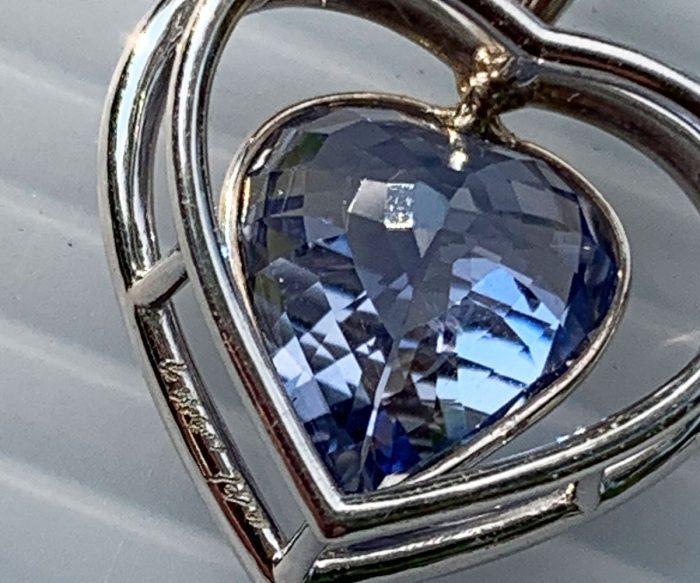 Custom White Gold Sapphire Heart Pendant