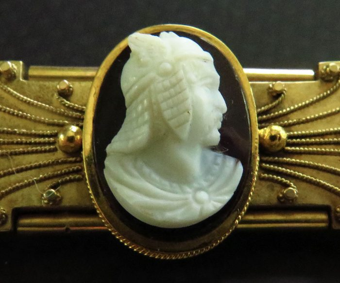 Gold Etruscan Revival Brooch with Stone Cameo