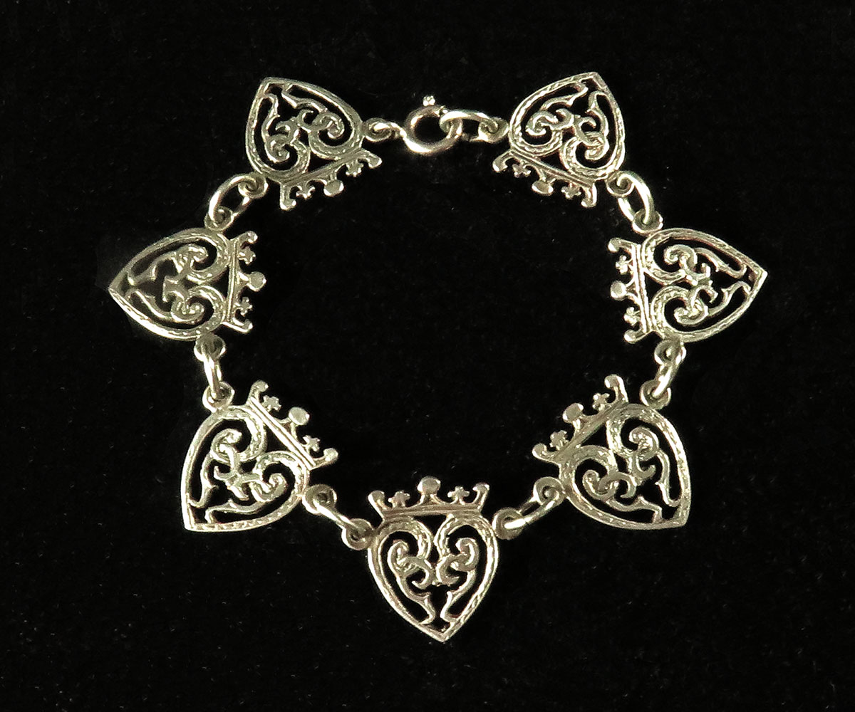 Sterling Scottish Bracelet with Heart and Crown