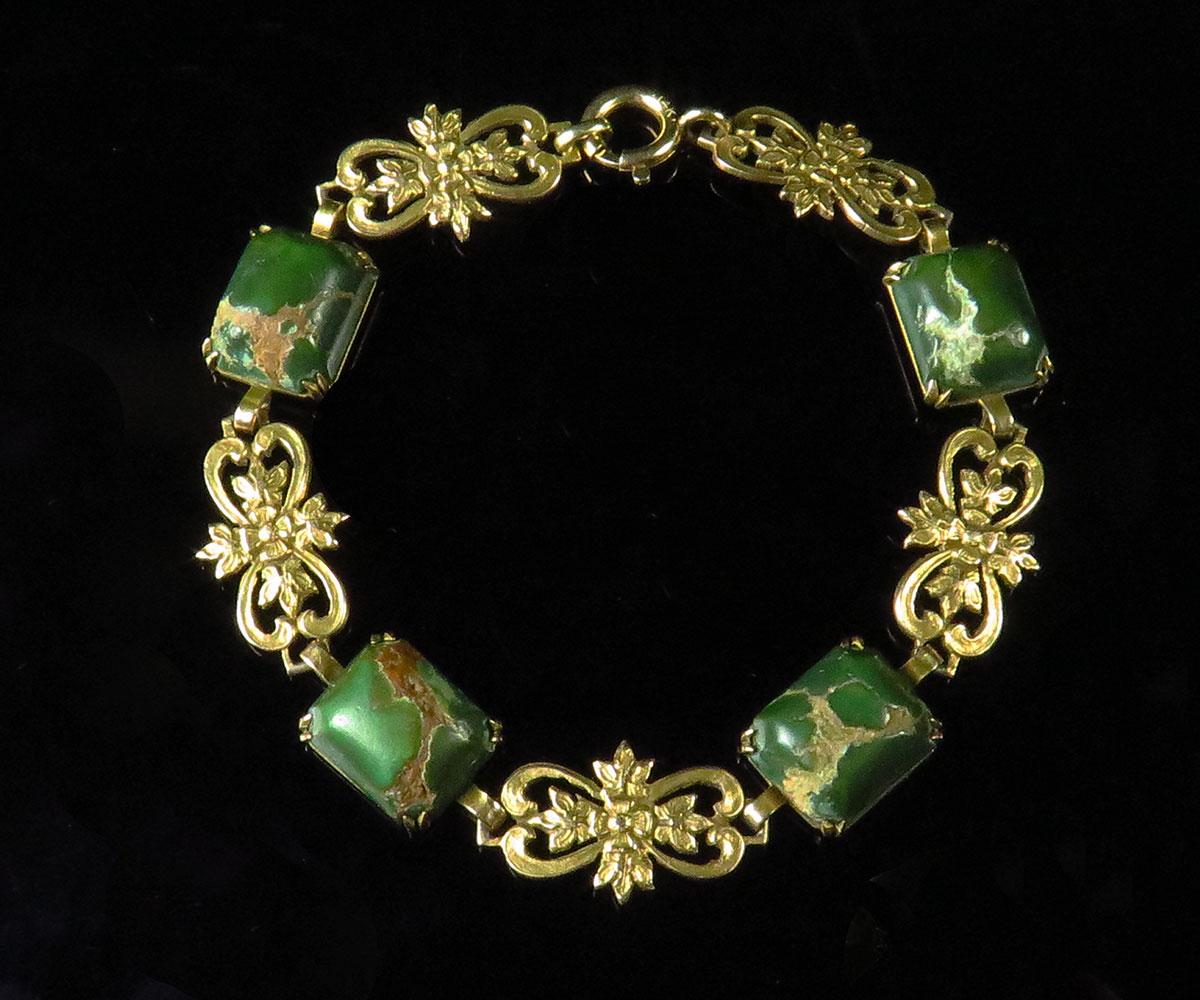 Birks Gold and Cerrillos Turquoise Bracelet