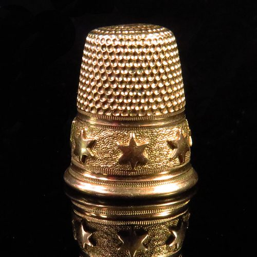 Gold Thimble with Stars