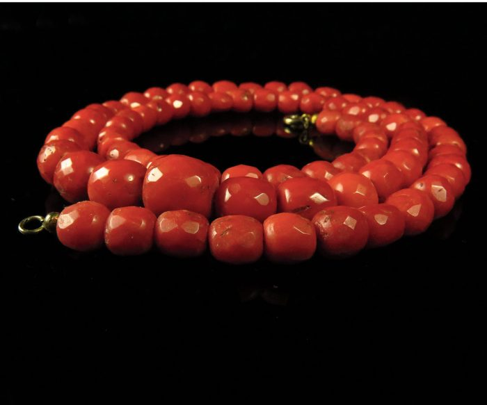 Victorian Faceted Coral Beads