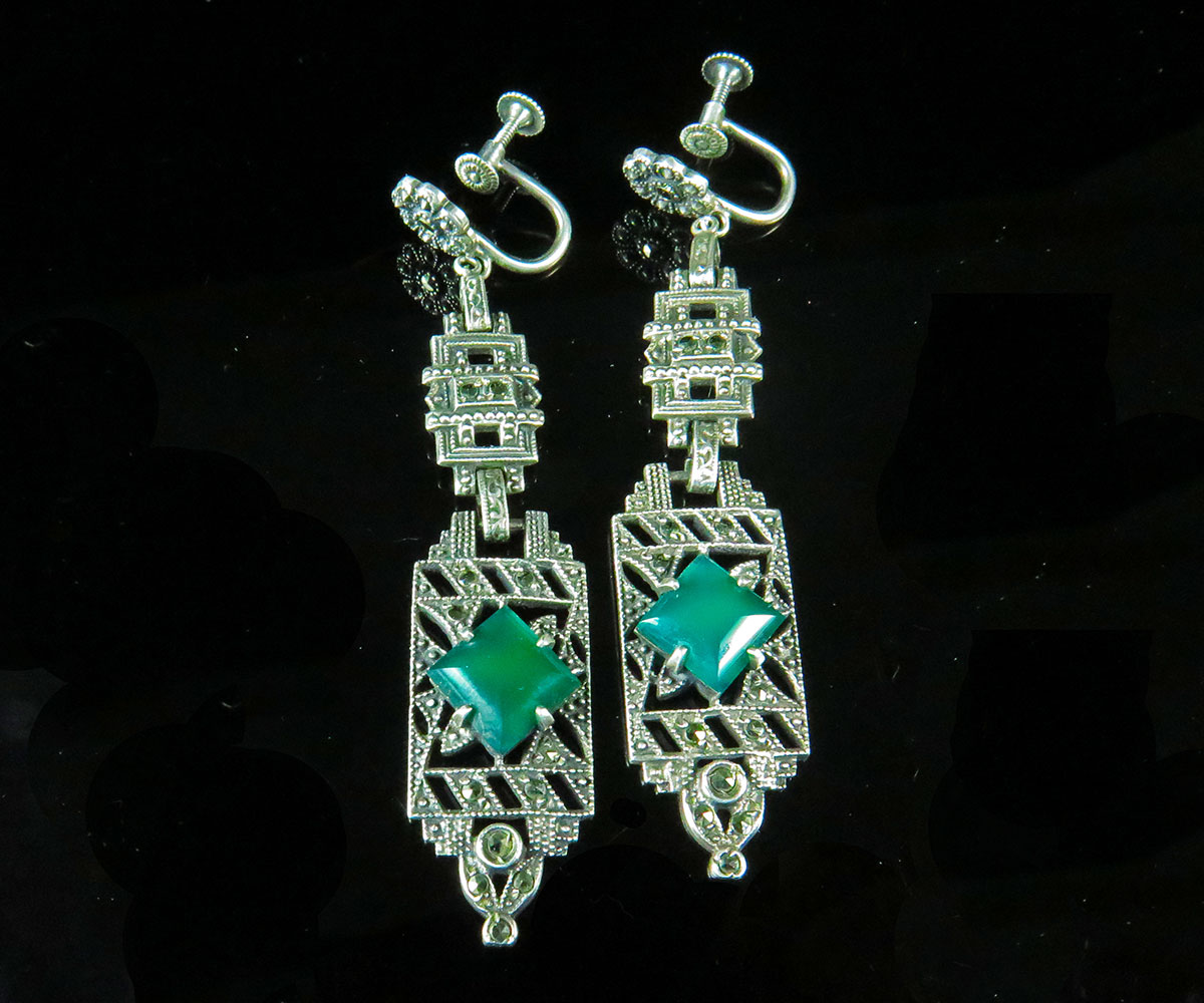 Deco Sterling Marcasite and Green Onyx Earrings