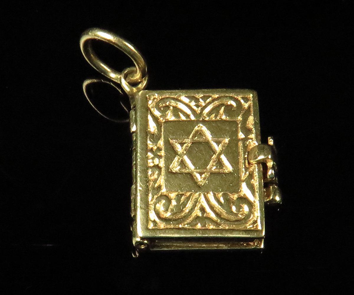 Gold Hebrew 10 Commandments Charm