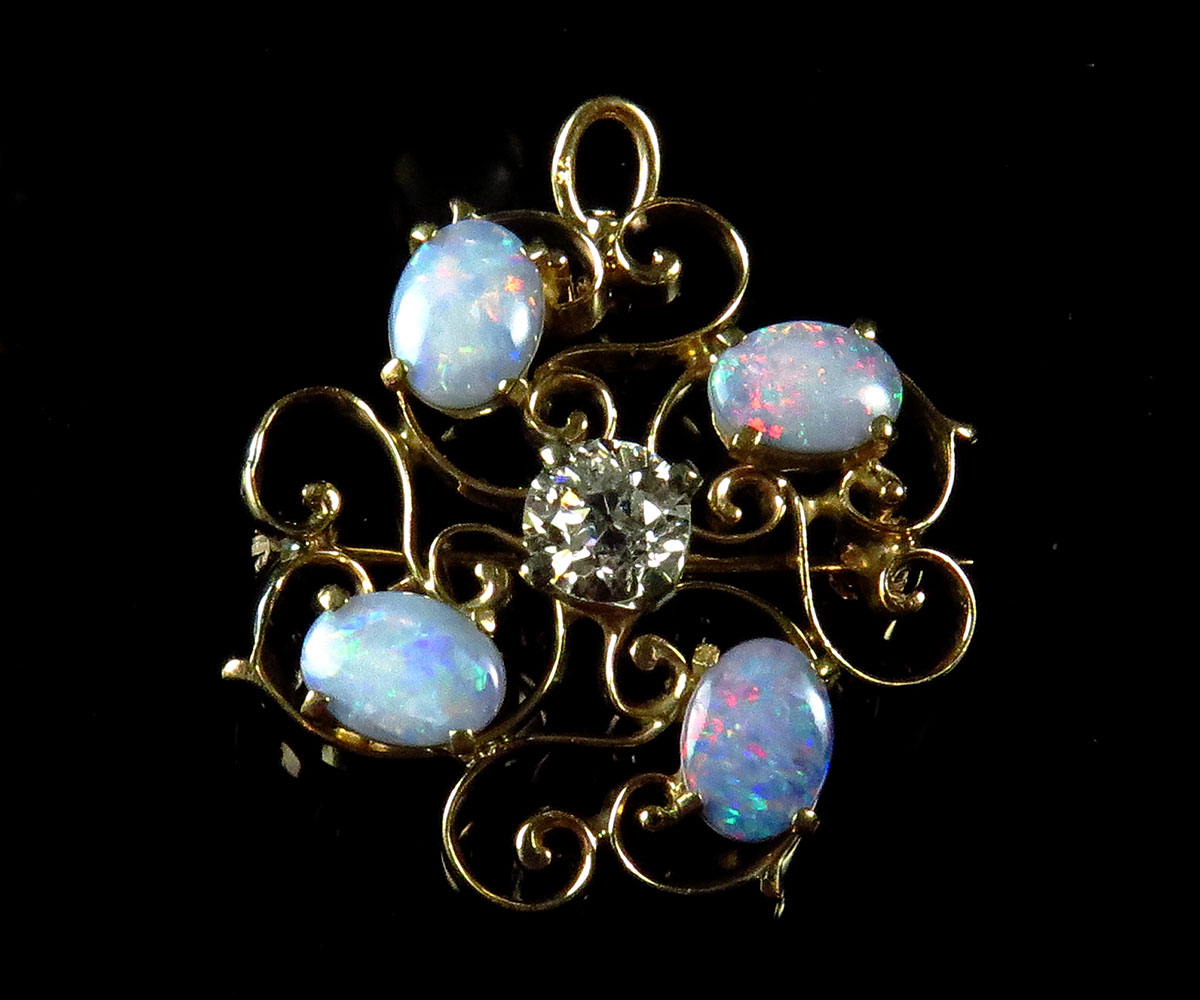 Edwardian Gold Opal and Diamond Swirl Brooch