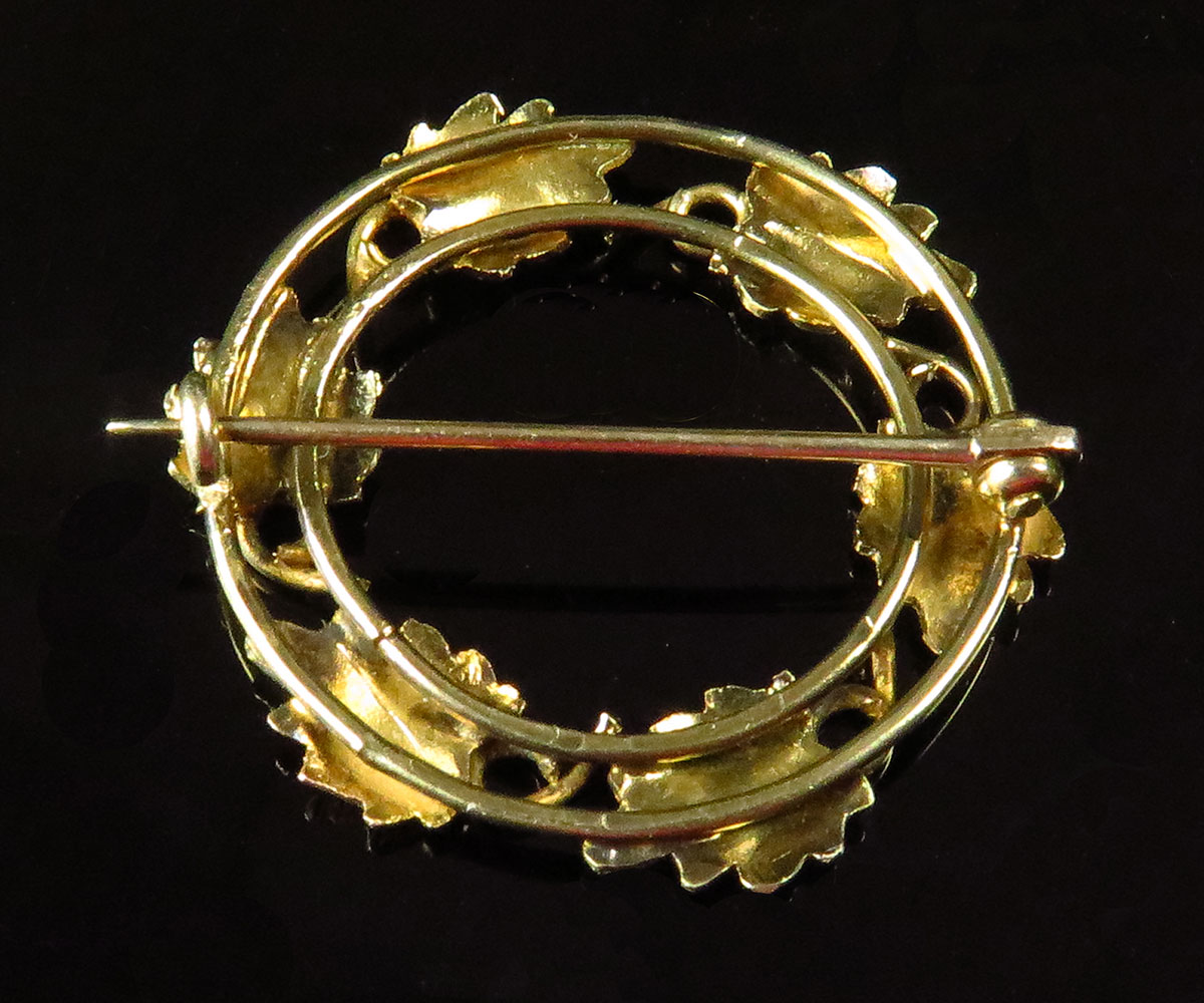 Handmade Gold Circular Foliate Brooch