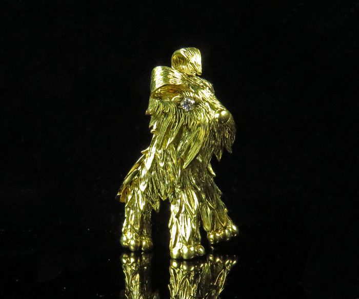 French Gold Dog Brooch with Diamond Eyes