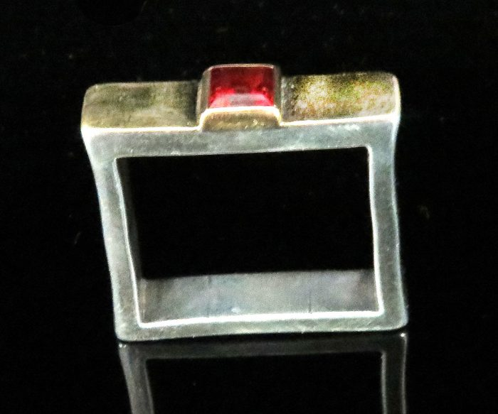 Gold and Silver Square Garnet Ring