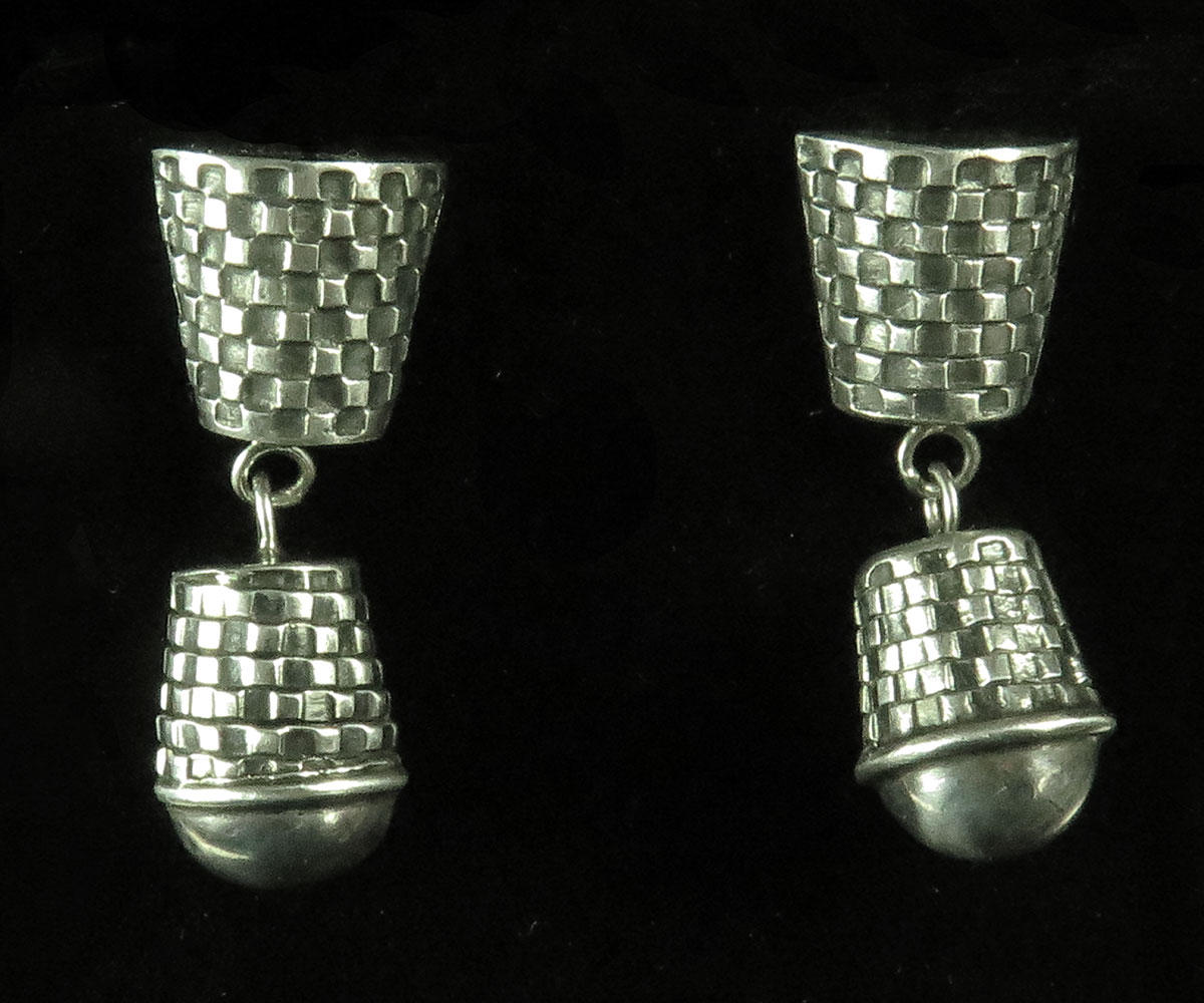 Sterling Hanging Earrings with Woven Design by GeoArt