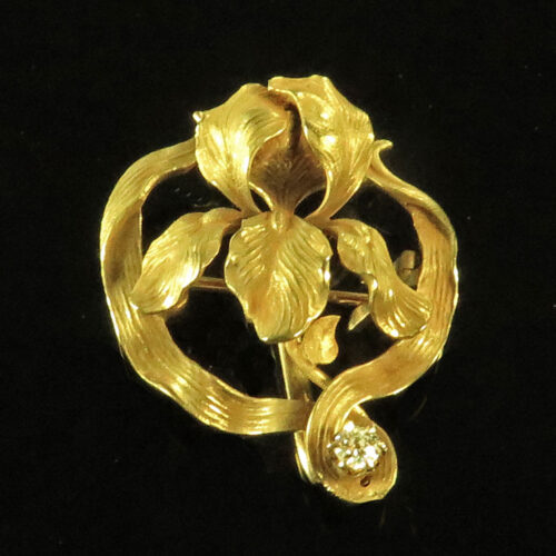 Art Nouveau Gold Iris Brooch with Diamond