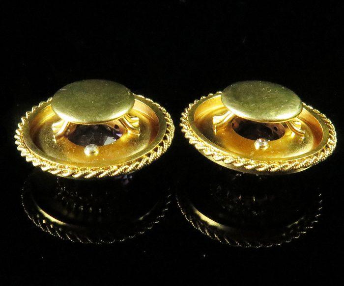 Victorian Gold Amethyst Cuff Buttons