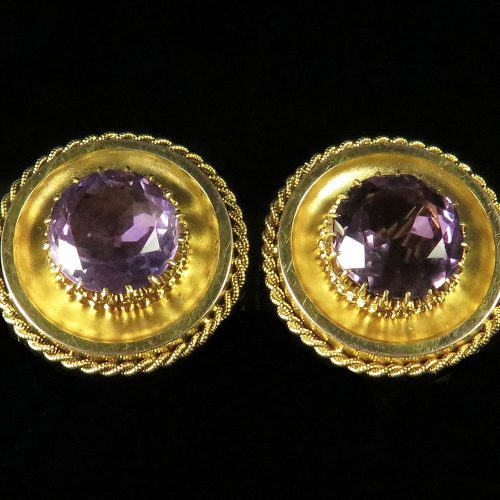 Victorian Gold Amethyst Cuff Buttons
