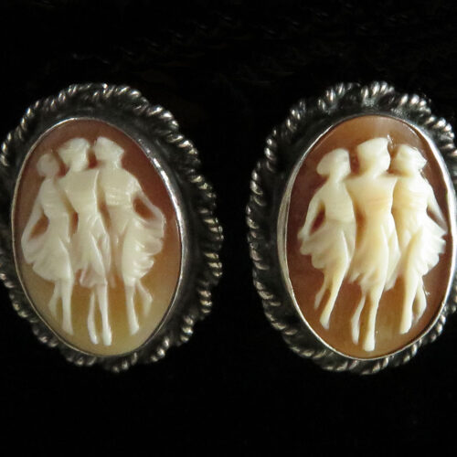 Sterling Shell Cameo Clip On Earrings of the Three Graces