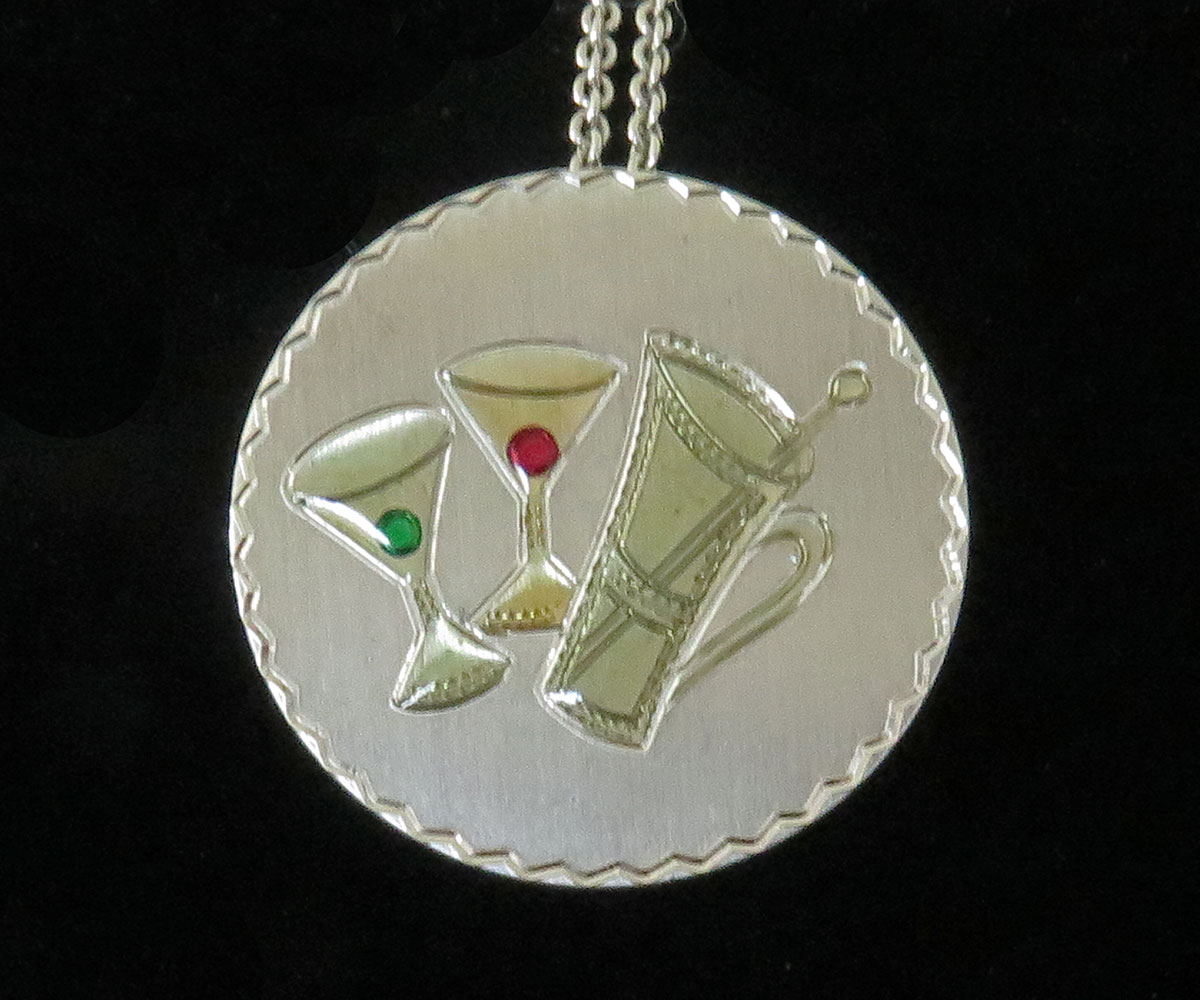 Sterling Pendant with Martinis