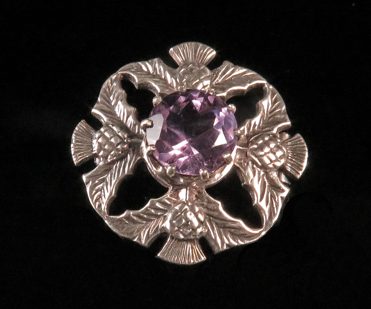 Scottish Sterling Amethyst Thistle Pin by John Hart