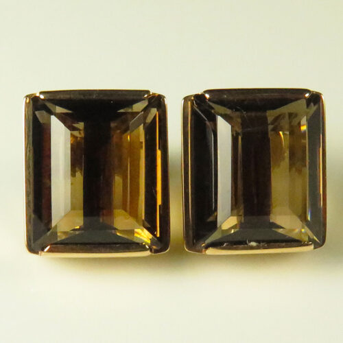 Gold Smoky Quartz Earrings
