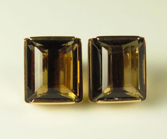 Gold Smoky Quartz Earrings