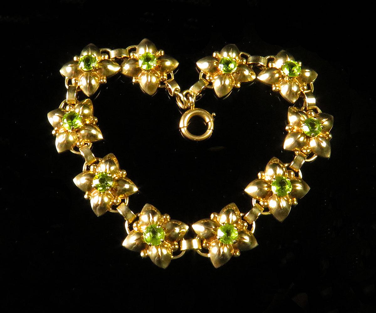 Vintage Gold and Peridot Bracelet by Newark Jeweler
