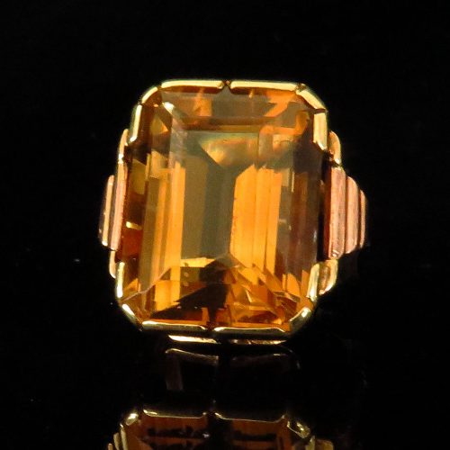 Deco Austrian Two Tone Gold Citrine Ring