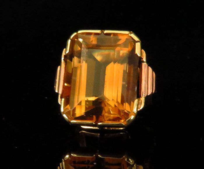 Deco Austrian Two Tone Gold Citrine Ring