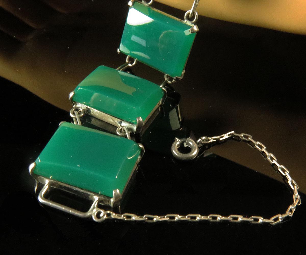 Deco Sterling Green Onyx Bracelet