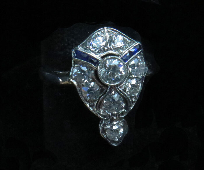 Deco White Gold Diamond and Sapphire Ring