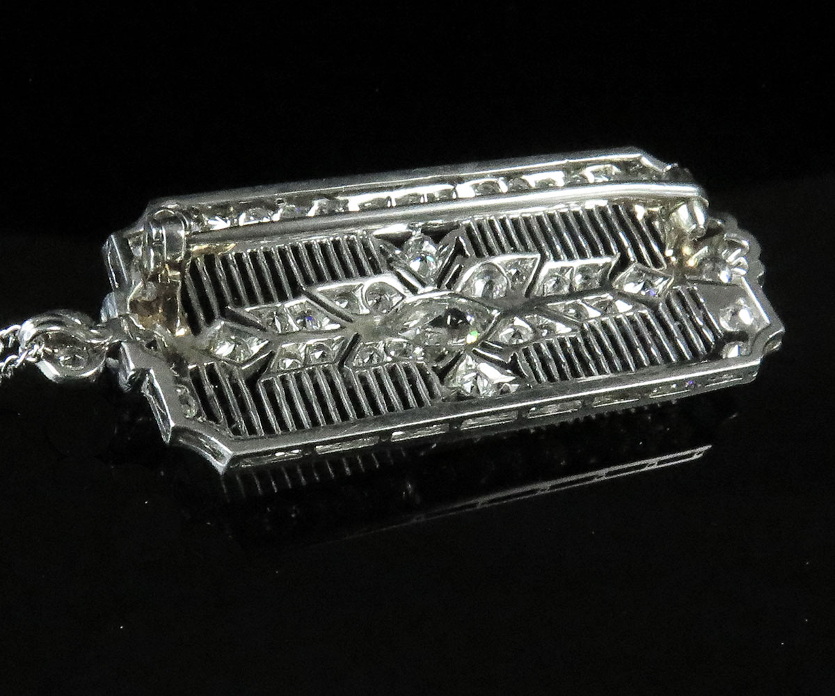 Deco Platinum Diamond Pin/Pendant