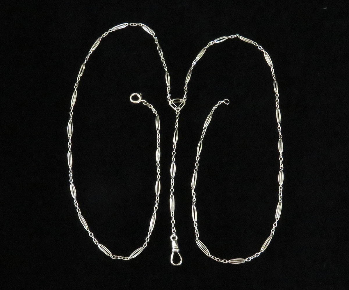 Edwardian White Gold Pendant Watch Chain