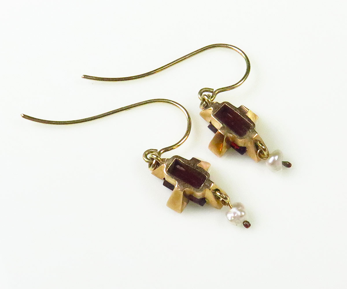 Victorian Gold Garnet and Pearl Earrings