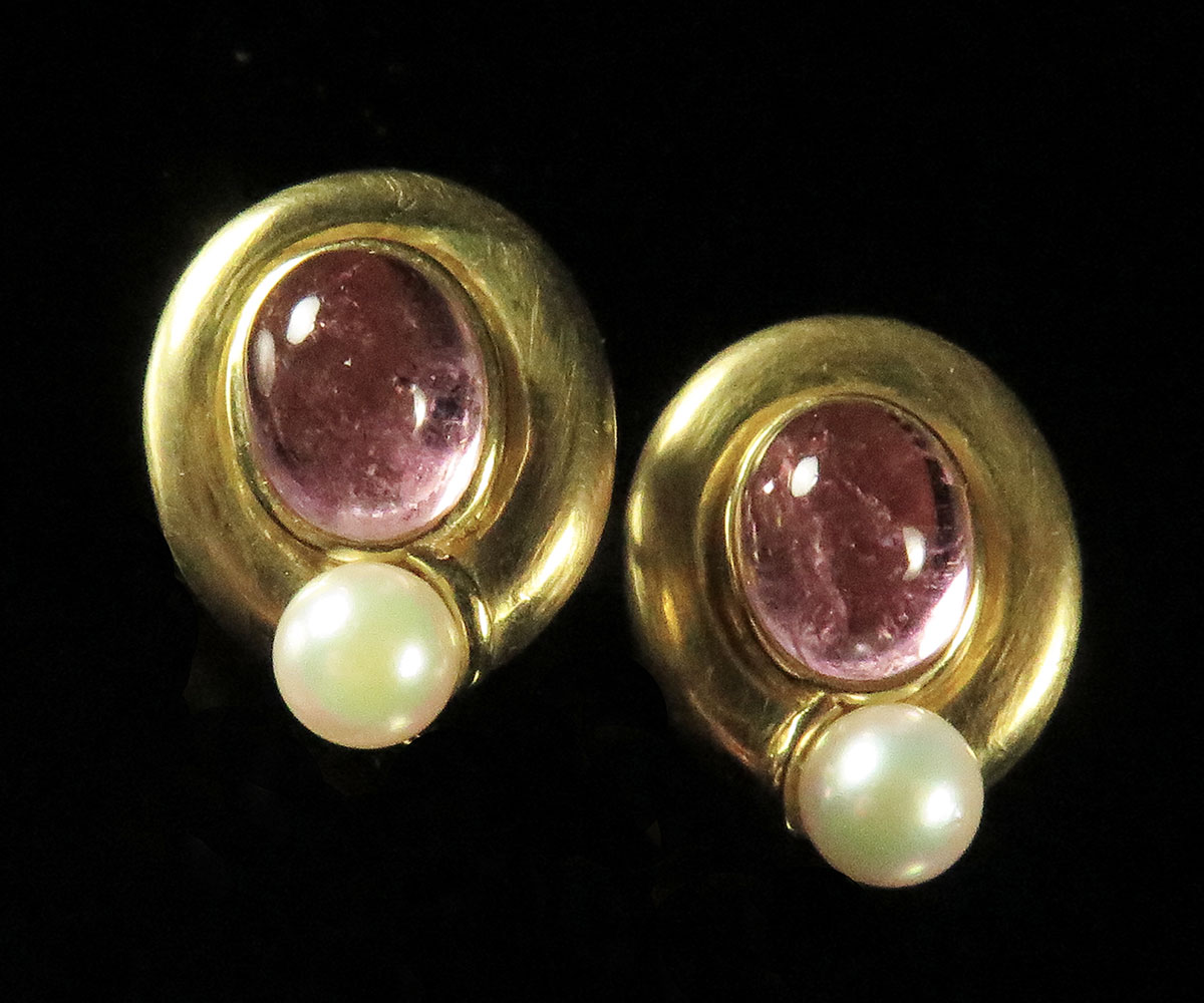 Mings Gold Tourmaline and Pearl Earrings