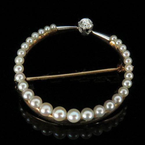 Deco Gold and Platinum Pearl and Diamond Circular Brooch