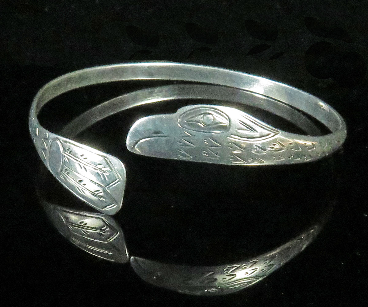 North West Coast Silver Bracelet with Eagle
