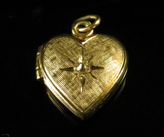 Gold Filled Heart Locket with Diamond