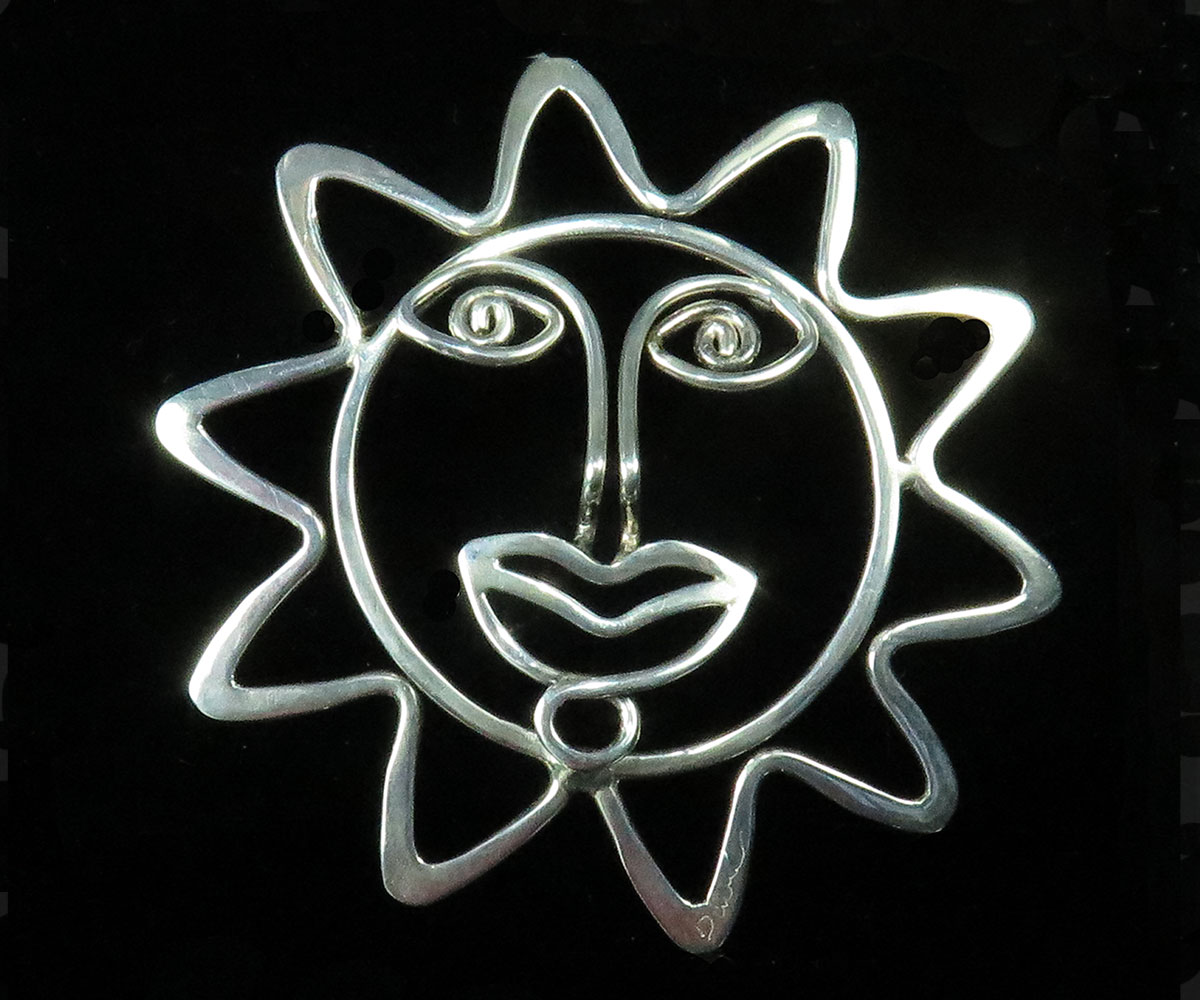 Handmade Sterling Sun Face Pin