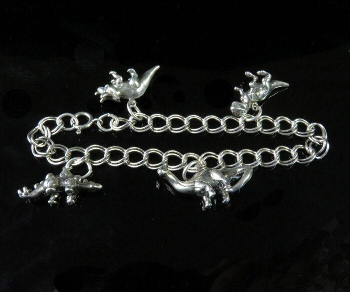 Sterling Dinosaur Charm Bracelet