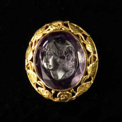 Arts & Crafts Gold Framed Amethyst Cameo Brooch