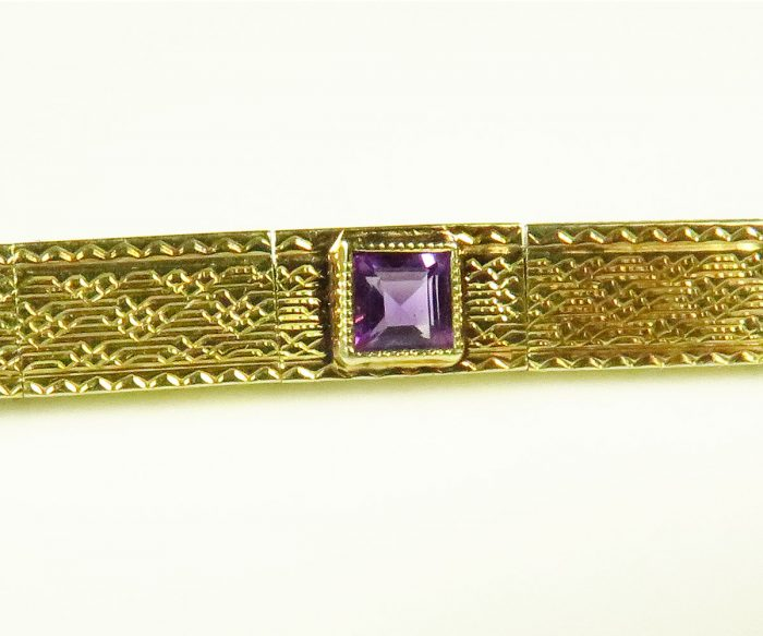 Gold Deco Amethyst Bracelet