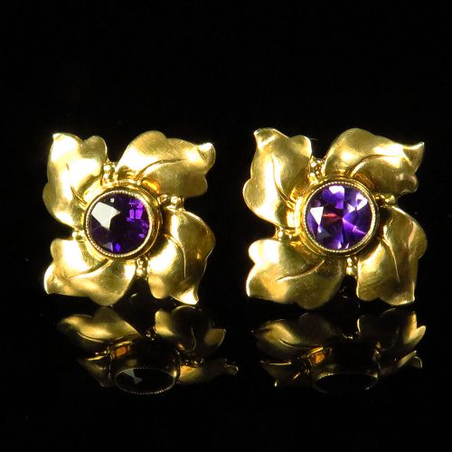 Gold Amethyst Pinwheel Earrings