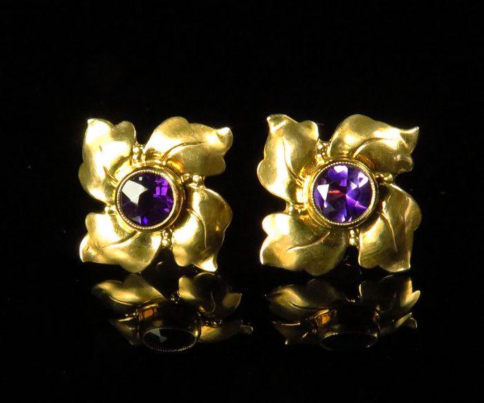 Gold Amethyst Pinwheel Earrings